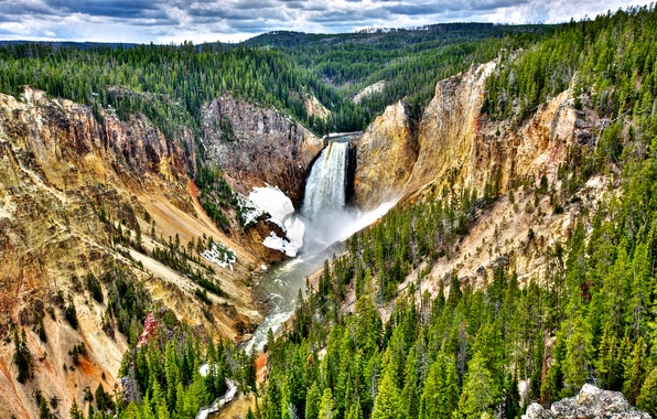 Picture forest, the sky, clouds, trees, mountains, river, waterfall, slope, USA, Yellowstone National Park
