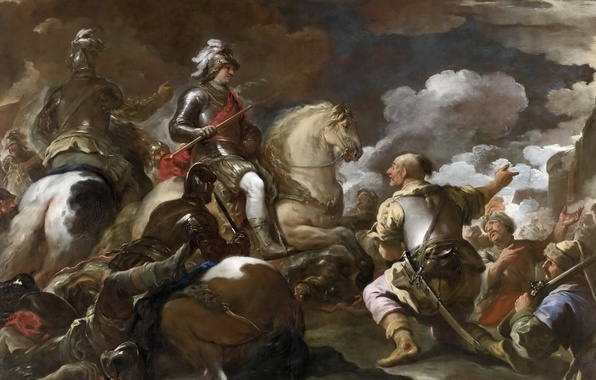 Photo wallpaper picture, battle genre, The Capture Of The Fortress, warrior, horse, rider, Luca Giordano