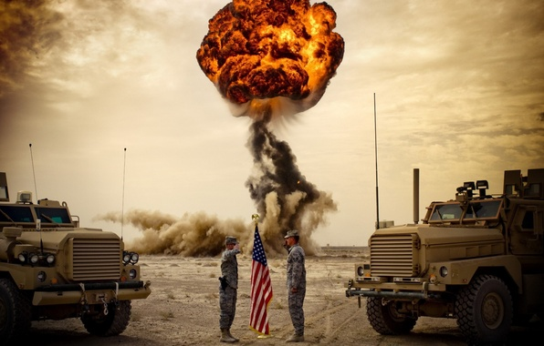 Picture trucks, the explosion, mushroom, soldiers, USA, army, greeting