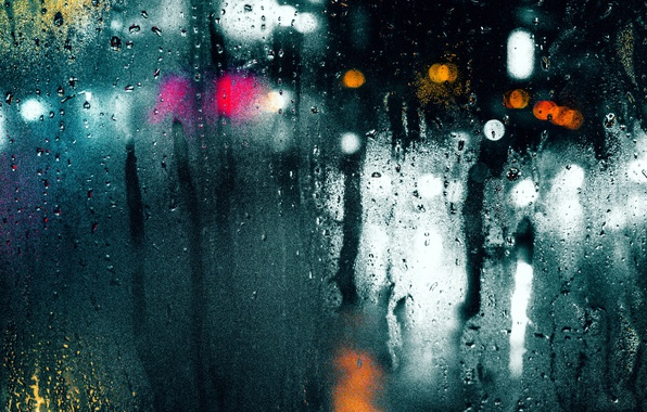 Picture wet, glass, drops, macro, light, the city, glare, rain, bokeh