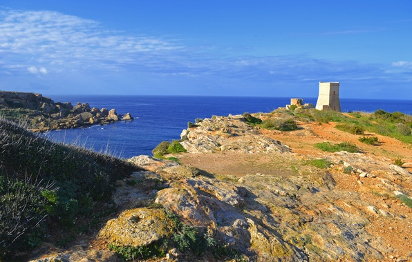 Picture sea, the sky, clouds, rocks, tower, Bay, Malta