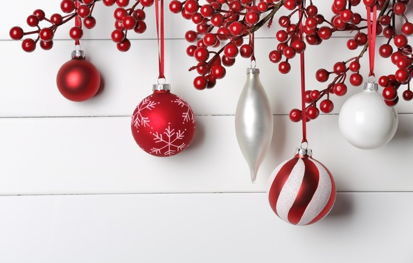 Picture decoration, berries, balls, New Year, Christmas, Christmas, New Year, decoration, Merry