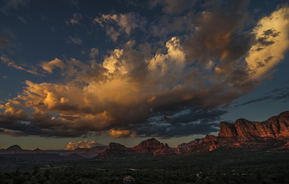 Picture clouds, trees, mountains, rocks, landscapes, canyon, America, Utah