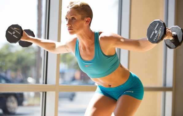 Picture woman, blonde, fitness, exercises