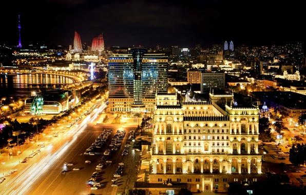 Picture night, night, Azerbaijan, Azerbaijan, Baku, Baku