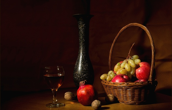 Wallpaper glass, Apple, grapes, pitcher, nuts, still life, garnet