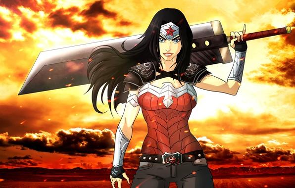 Picture sword, wonder woman, fan art, DC Comics, wonder woman