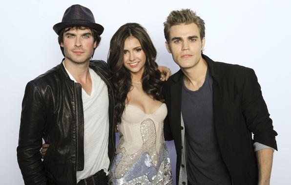 Picture The series, Nina Dobrev, The Vampire Diaries, Ian Somerhalder, Paul Wesley, the main actors of …