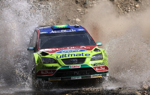 Picture Ford, Water, Auto, Sport, Machine, Ford, Logo, Race, Squirt, Lights, Focus, WRC, Rally, The front