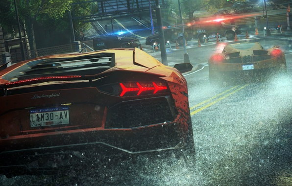 Picture rain, race, police, Lamborghini, cars, Need For Speed Most Wanted, cars