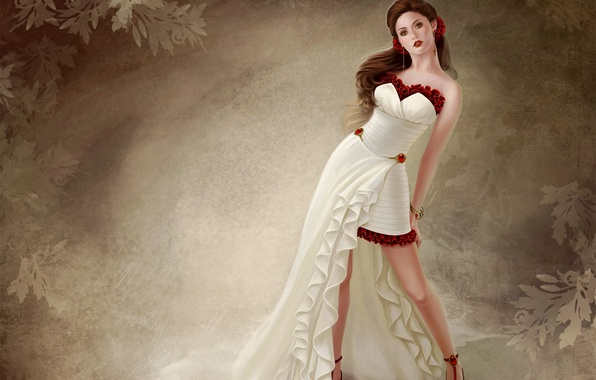 Picture girl, pose, background, pattern, dress, art, shoes, red, belove