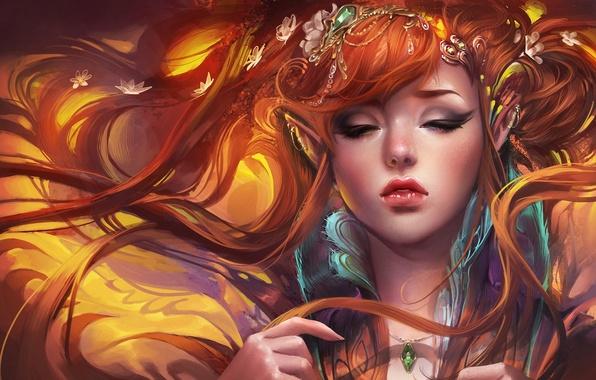 Picture girl, decoration, elf, art, red, elf, ears, sakimichan