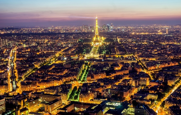Picture light, night, the city, lights, France, Paris, building, road, home, the evening, panorama, Eiffel tower, …