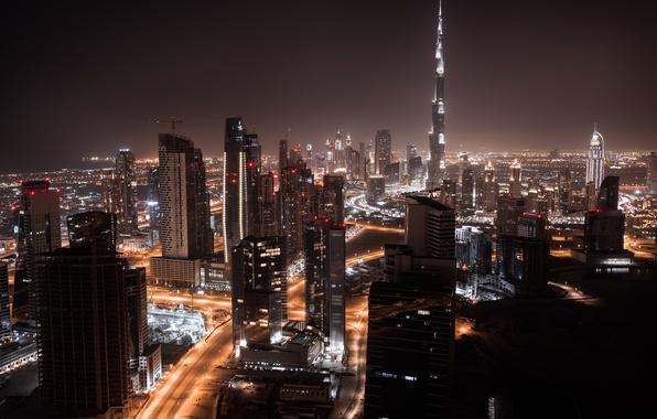 Picture night, city, lights, home, panorama, Dubai, Dubai, skyscrapers, naght, road.
