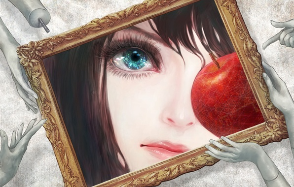 Picture eyes, frame, Apple, picture, hands