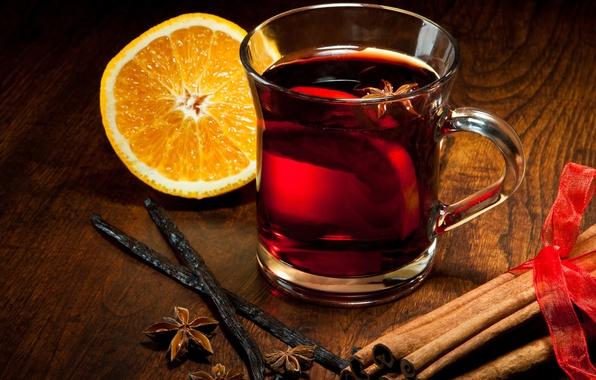 Picture winter, orange, sticks, Cup, drink, cinnamon, vanilla, spices, star anise, Anis, mulled wine