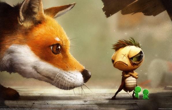 Picture men, Figure, ant, Fox