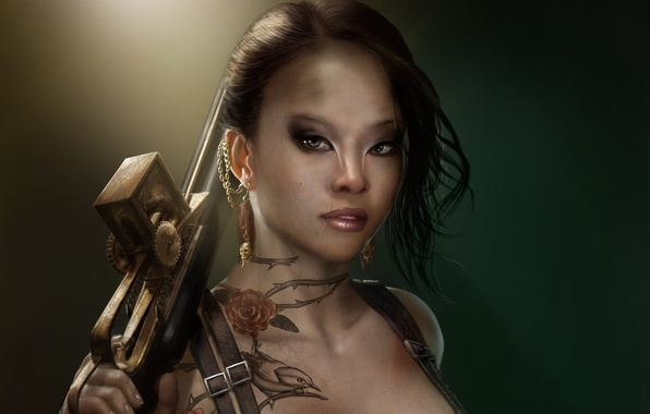 Picture girl, decoration, weapons, bird, skull, roses, earrings, barb, tattoo, art, tattoo, scar, mutant