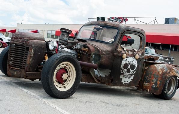 Picture skull, rust, wheel, car
