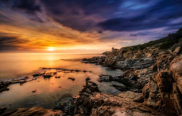 Picture rock, ocean, sunset, wave