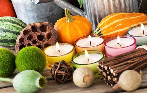 Picture autumn, decoration, Maki, candles, watermelon, pumpkin, rods, decor, candlesticks