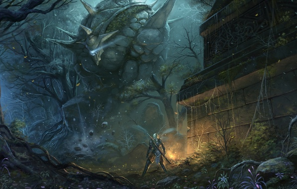 Picture forest, weapons, people, sword, being, fantasy, art, giant, ruins, Golem, chaoyuanxu