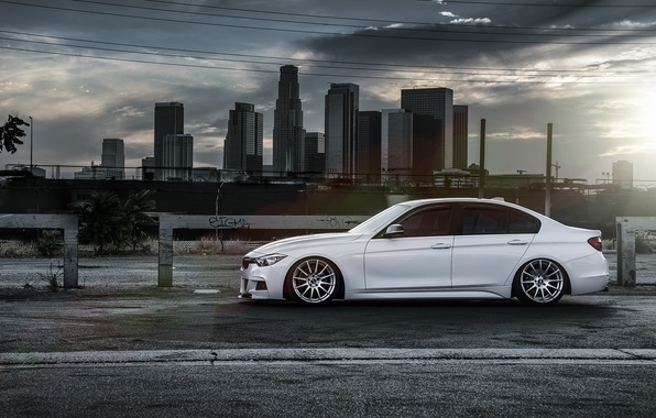 Picture BMW, City, Sun, White, Side, 328i, F30, Alpine, Wheels, VMR