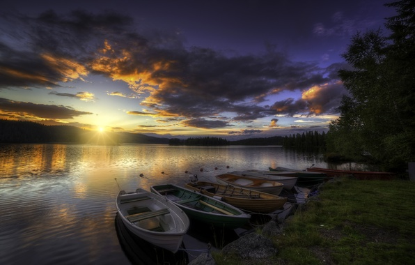 Picture forest, the sky, clouds, trees, sunset, river, shore, boats, the evening, glow, the rays of …