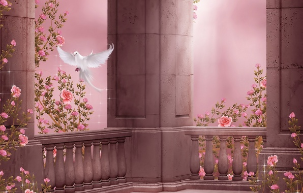 Picture flowers, dove, roses, columns, flight, flowers, dove, roses, pigeon, columns, rose garden, Rose Garden
