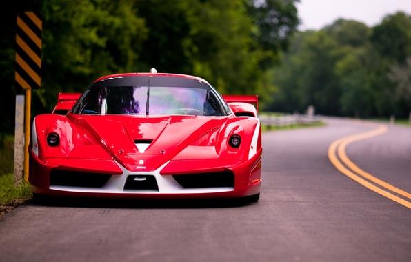 Picture road, red, Ferrari, Ferrari, supercar, the front, FXX, Evolution