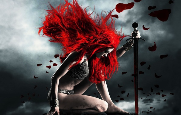 Picture girl, red, sword, mail, submission, red Sonja