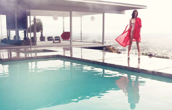 Picture swimsuit, girl, pool, actress, Olivia Wilde