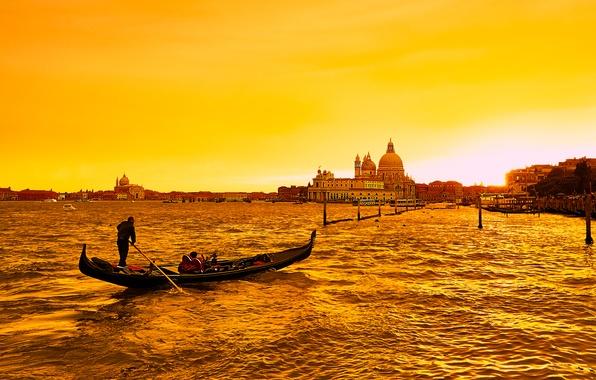 Picture sea, boat, Italy, Venice, channel, glow, gondola