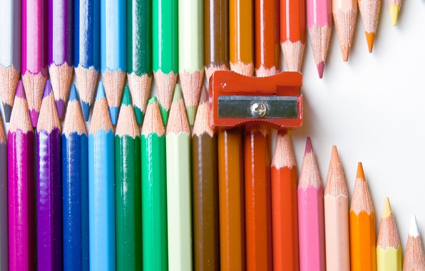 Picture BACKGROUND, WHITE, PENCILS, COLORED, LIGHTNING, SHARPENER