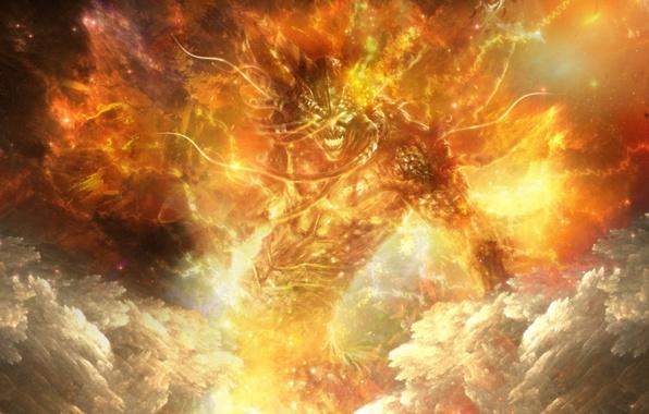Picture fire, the demon, art, rage