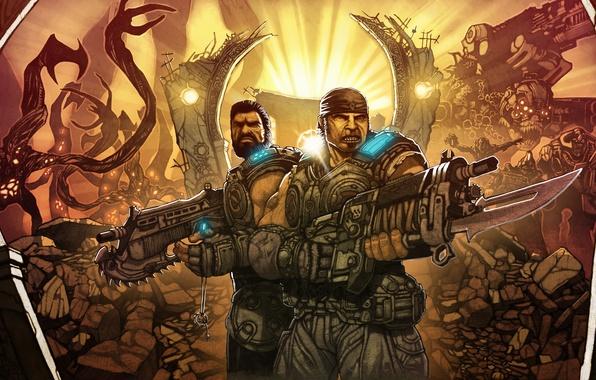 Picture Lancer, gears of war, mark, marcus fenix, Dominic Santiago, Mark 2 Lancer Assault Rifle, Mark …