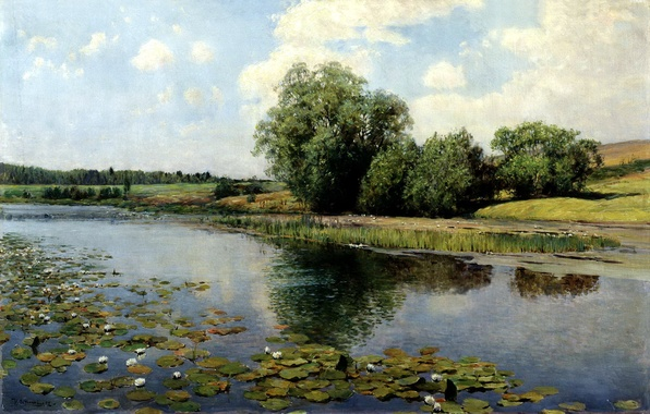 Picture the sky, water, trees, picture, reed, painting, the bushes, water lilies, Ostroukhov, the river in …