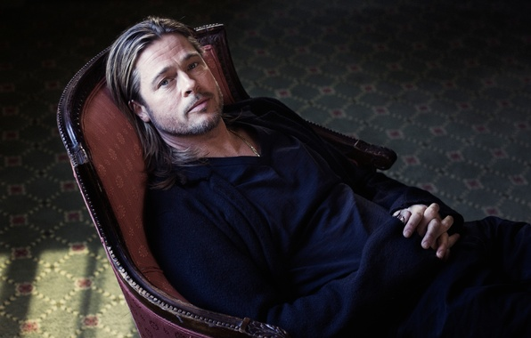 Picture look, chair, actor, Brad Pitt, Brad Pitt