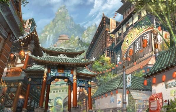 Picture the city, Asia, building, mountain, bamboo, art, lights, waterfalls, chaoyuanxu