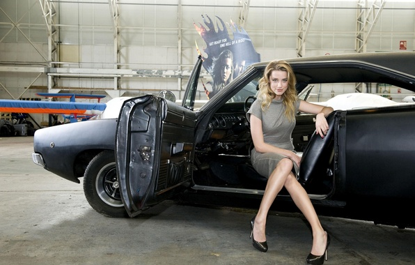 Picture machine, girl, blonde, celebrity, Dodge Charger, amber heard, amber heard