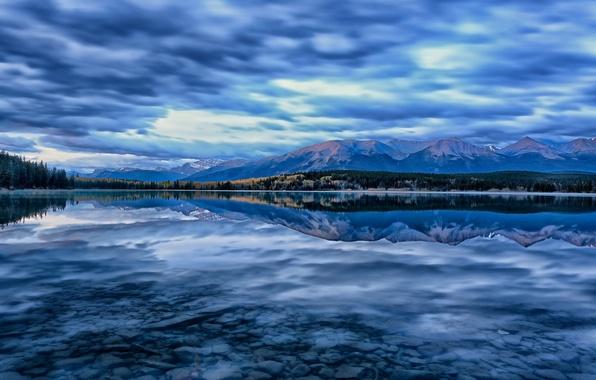 Picture mountains, lake, reflection, Canada, Albert, Alberta, Canada, Jasper National Park, Pyramid Lake, Jasper