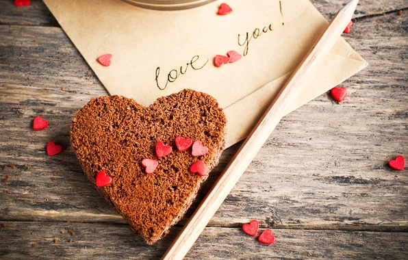 Picture the inscription, heart, cookies, hearts, pencil, love you