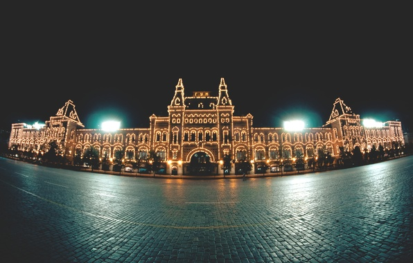 Picture night, lights, the building, Moscow, Red square, sanchezis, GUM
