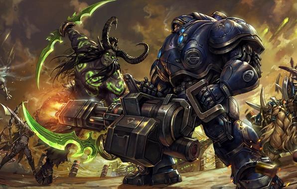Picture battle, starcraft, armor, World of Warcraft, battle, Warcraft, soldier, diablo, wow, illidan, Sylvanas, witch doctor, …