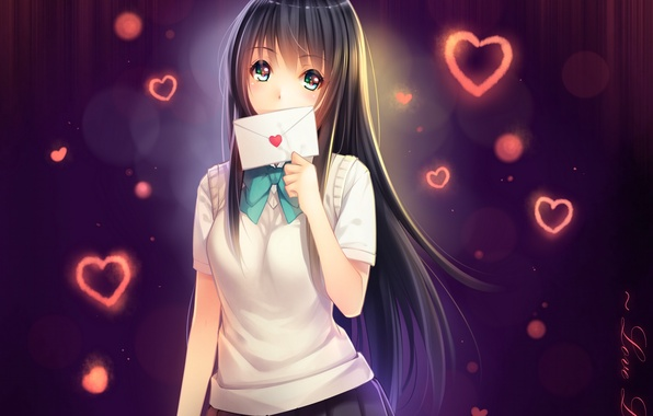 Picture letter, girl, anime, art, hearts, schoolgirl, tidsean, forms