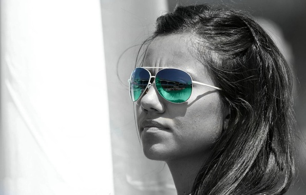 Picture white, colorful sunglasses, Black