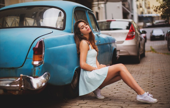 Picture auto, girl, machine, street, sneakers, dress, brunette, legs