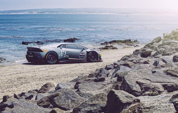 Picture Lamborghini, Car, Race, Beach, Sun, Super, Rear, Huracan, Trophy, Ligth, LP620-2
