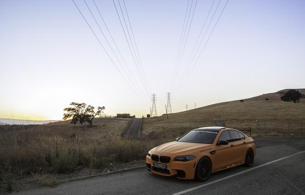 Picture the sky, orange, bmw, BMW, orange, f10, power line