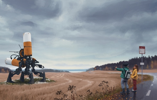 Picture road, field, machine, forest, clouds, children, gun, weapons, fiction, overcast, sign, robot, post, boy, art, …